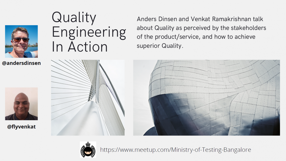 Quality Engineering In Action Poster showing pictures of Venkat and Anders